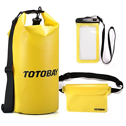 Premium 20L Waterproof Dry Bag with Free Waterproof Phone Case and Waist Pouch with Long Adjustable Shoulder Strap Touch Responsive for Rafting Kayaking Boating Fishing Swimming Beach Pool Hiking Camping Water Sports Phone Wallet Watch (yellow)