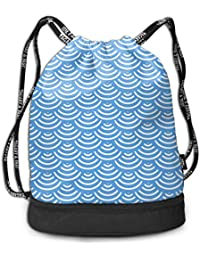 a7915bb754a2 RAINNY Japanese Great Wave Mermaid Fish Scales Sky Blue Drawstring Bag for  Men & Women - Large Storage Waterproof Cinch Backpack…
