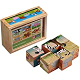 Wooden Cube Puzzles - Pack Of 6 Wild Animals Wooden Cube Puzzle Toy For Kids