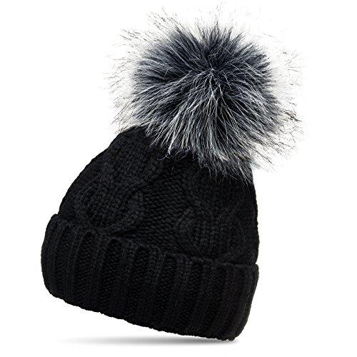 CASPAR MU163 Bonnet fourré hiver pour femme - bonnet tricoté avec torsades et gros pompon en fausse fourrure, Couleur:noir;Taille:One Size