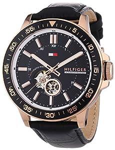 Tommy Hilfiger Watches BROOKS - Reloj Analógico de Automático para Hombre, correa de Cuero color Negro de Tommy Hilfiger Watches
