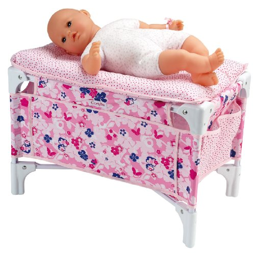 Corolle X0735 - Lettino e fasciatoio per bambole 36-42 cm, con fiori e puntini, colore: Rosa