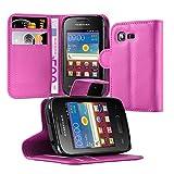 Cadorabo Hülle für Samsung Galaxy Pocket 2 - Hülle in Cherry Pink – Handyhülle mit Kartenfach und Standfunktion - Case Cover Schutzhülle Etui Tasche Book Klapp Style