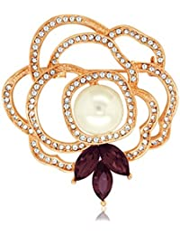 Spargz Floral Design Party Wear Gold Plated Color Alloy Brooch For Women AISAP 044