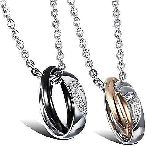 ZWX Coreano moda collana coppie/Personalità creativa del doppio-anello ciondolo catena della clavicola-A
