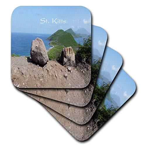 Florene-Welten Exotic Spots-Bild von St Kitts Insel mit mediterraner und Atlantic Oceans-Untersetzer, Gummi, set-of-4-Soft -