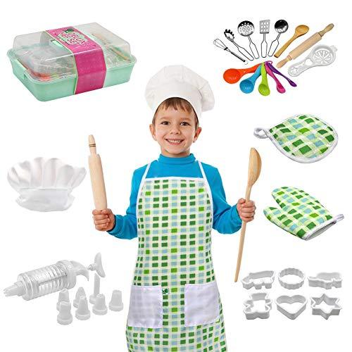 PER 22 Stück Kinder Backset, Küchenrollenspiele Box Kochen Backen Utensilien Spielzeug Spielset Echtbackwaren Küchenchef Kostüm für - Ein Von Einer Art Kleinkind Kostüm