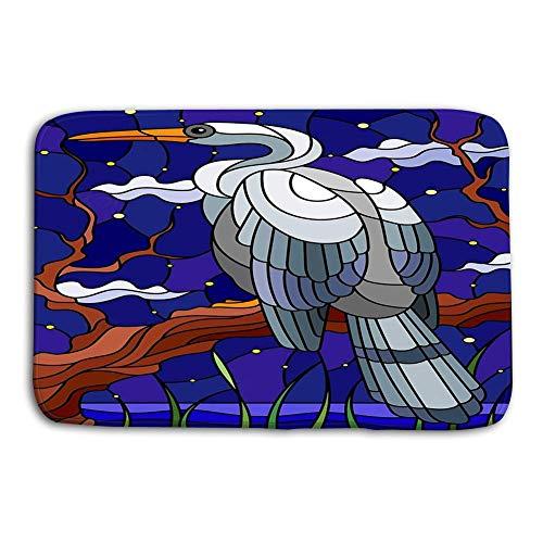 Mbefore Fußmatte Indoor Outdoor Illustration Glasmalerei Stil Weißer Reiher Vogel sitzend Baum Hintergrund Sumpf Sternenhimmel Matte 16 Zoll * 24 Zoll, 40 cm * 60 cm