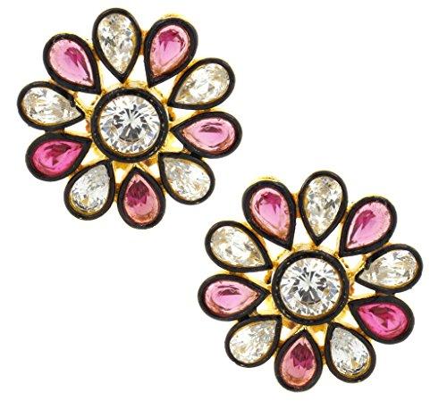 the-jewelbox-7-stone-flower-kundan-polki-american-diamond-sapphire-pink-gold-plated-stud-earring-for