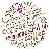 Kaffee Schablone–wiederverwendbar Groß Zitat Spruch Wort Wand Schablone–Vorlage, auf Papier Projekte Scrapbook Tagebuch Wände Böden Stoff Möbel Glas Holz etc. m