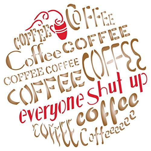 Kaffee Schablone-wiederverwendbar Groß Zitat Spruch Wort Wand Schablone-Vorlage, auf Papier Projekte Scrapbook Tagebuch Wände Böden Stoff Möbel Glas Holz etc. L -