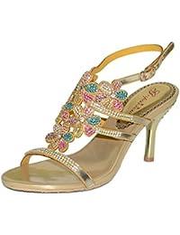 XIE Nuevas Sandalias de Diamantes de Imitación de Diamantes de Las Mujeres de Tacón Alto Sandalias de Noche Zapatos...