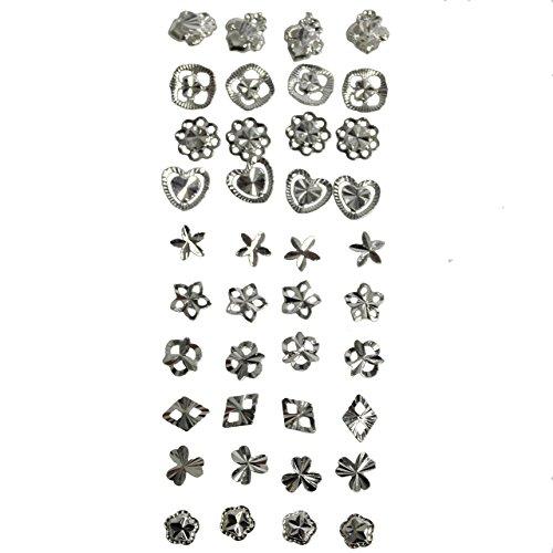 Set di 40 (20 paia) di Orecchini in Argento 925 Finissimo con Disegni Misti Gioielleria da Kurtzy TM