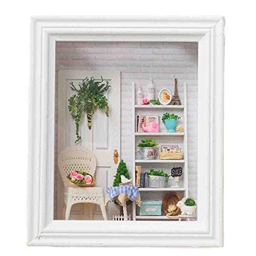 Oshide Puppenhaus Süßes Haus mit Licht DIY House in einen Rahmen als Kinder Geschenk (Womens Puppenhaus)