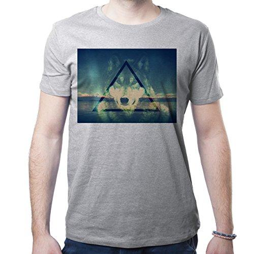 Illuminati Triangle Art Majestic Wolf Mystic Herren T-Shirt Grau