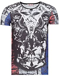 Young & Rich T-Shirt für Herren France Frankreich Totenkopf Muster (L)
