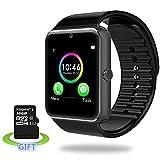 Smart Watch, luluking® SmartWatch Reloj inteligente A prueba de sudor reloj inteligente teléfono para iphone 5S/6/6S y Android 4,2 o superior SmartPhones Incluyen tarjeta de 32 GB(negro)