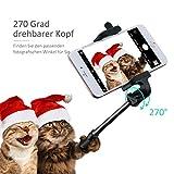 Mpow iSnap X U-Form Selfie Stange Erweiterbar Selfie-Stick mit integrierter Bluetooth Fernauslöser für iPhone 6 6S 6 Plus 6S Plus 5S 5 5C 4S 4, HTC M9 M8, Sony Z5 Z4 Z3 Compact, MP3 Players usw. – Schwarz - 5