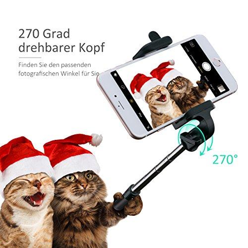 Mpow iSnap X U-Form Selfie Stange Erweiterbar Selfie-Stick mit integrierter Bluetooth Fernauslöser für iPhone 6 6S 6 Plus 6S Plus 5S 5 5C 4S 4, HTC M9 M8, Samsung,Sony Z5 Z4 Z3 Compact, MP3 Players usw. - Schwarz - 5