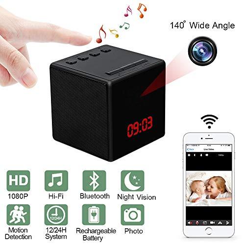 Telecamera Spia Wifi LXMIMI 1080P Videocamera Nascosta Wifi Mini Camera Spia Altoparlante Bluetooth Nascosta Telecamera 140 Grado Grandangolare Spy Camera con Night Vision e Motion Detection