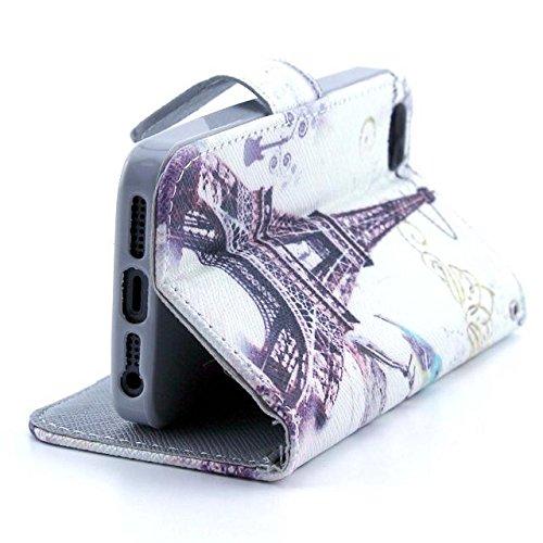 yaobaistore Fashion mignon Lovely Étui à rabat en cuir PU Housse portefeuille Cover avec plusieurs supports carte d'identité et extérieur argent poche pour Apple iPhone 55G 5S - Pairs