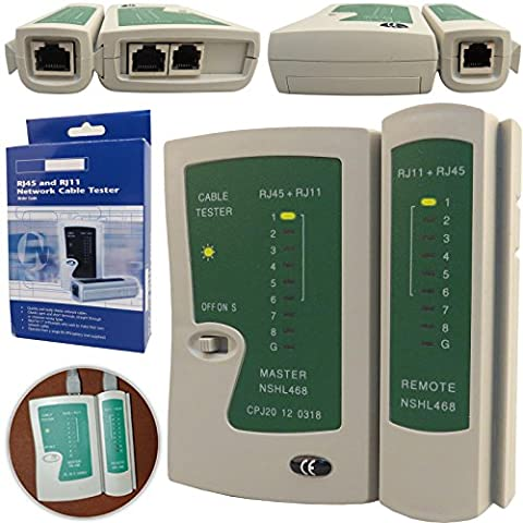 Safekom RJ45 CAT7 Cat6e CAT6 Cat5e Cat5 Cat 5e RJ11 RJ12 Network Ethernet UTP STP FTP LAN PC Wire Cable Tester Test Networking Internet Broadband Connection Speed Capability Testing Tool - 1 Year Warranty Free & Fast Same Day Dispatch UK Seller