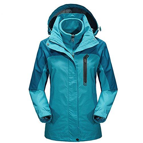 iPretty Outdoorjacke Damen 3 in 1 Regenjacke mit Kapuze Skijacke Doppeljacke Fleecejacke Wasserdicht atmungsaktiv Wanderjacke-Blau-2XL