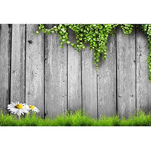 Cassisy 1,5x1m Vinyl Frühling Fotohintergrund Holzzaun Efeu Kletterpflanzen Rasenplatz Blume Fotoleinwand Hintergrund für Fotoshooting Fotostudio Requisiten Party Photo Booth