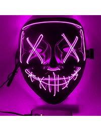 FZCRRDU KOCCAE Masque LED Carnaval Halloween Purge Masques élection en Lumière LED Masque pour Halloween Festival Cosplay Costume Décorations de Fête, Alimenté par Batterie