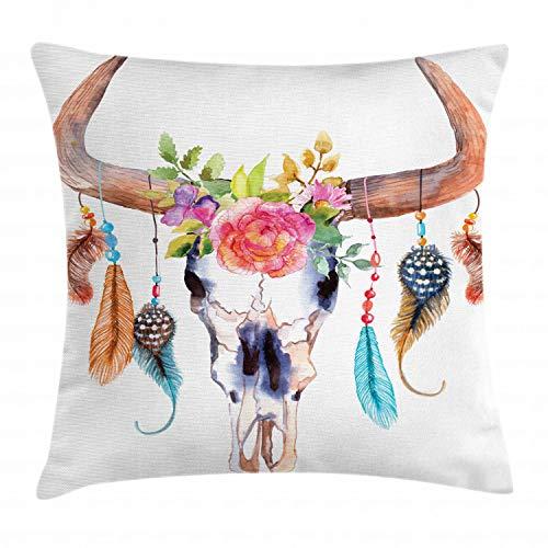 ABAKUHAUS Acuarela Funda para Almohadar, Calavera de Toro Colgante de Flores Plumas Diseño Étnico Inspiración Nativo Americana, con Estampas Digitales Personalizadas Lavable, 45 x 45 cm, Blanco