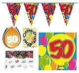 HHO 50. Geburtstag 50 Jahre Deko-Set 1 Girlande 8 Luftballon 20 Servietten 1 Konfetti