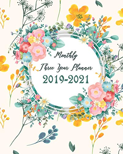 ree Year Planner: Pretty Floral Cover for 36 Months Calendar Agenda Planner 8