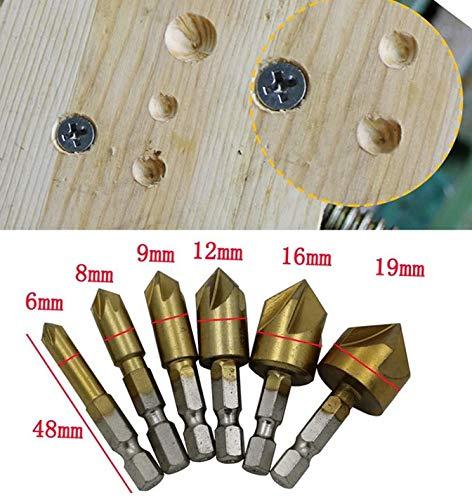 """90° Kegelsenker mit Bit 1/4\"""" - fünfschneidig 6mm 8mm 9mm 12mm 16mm 19mm oder Set auswählen (19mm)"""