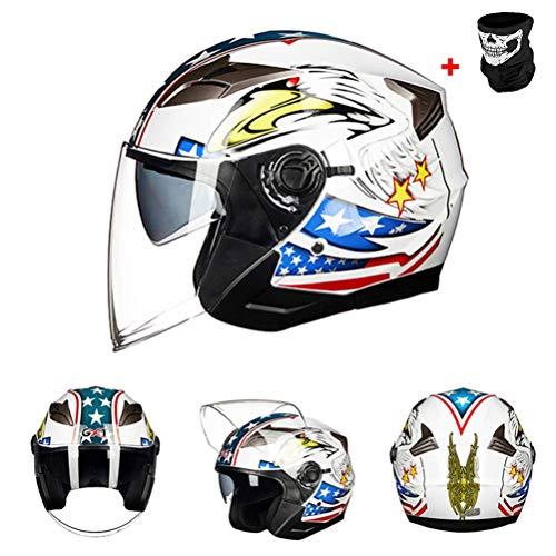 Uomini donne aperto faccia caschi doppia lente protezione UV anti nebbia leggera Racing tappi di protezione off road moto Racing unisex adulto casco 57-62cm
