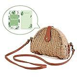 Crossbody Straw Bag, JOSEKO Womens Straw Handbag Shoulder Bag for Beach Travel and Everyday Use Light Brown