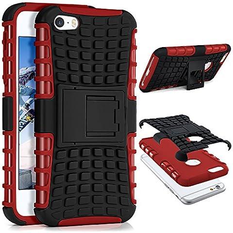 Caso del tanque para iPhone 5 / 5S / SE | Caso al aire libre con protección de doble capa | Bolsa de protección celular OneFlow | De vuelta en la cubierta