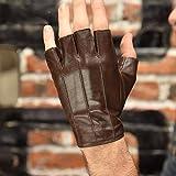 Gloves Men's Fingerless Leder bezieht Sich auf den halben Finger Hand-Fahren Fitness Sport Outdoor Schaffell Handschuhe (Color : Brown, Size : L)