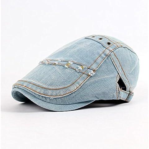 XQX-Parasole di uomini signora Outdoor Travel denim lavato semplice bianco e nero cappello cotone corto di gronda , blue and white , adjustable