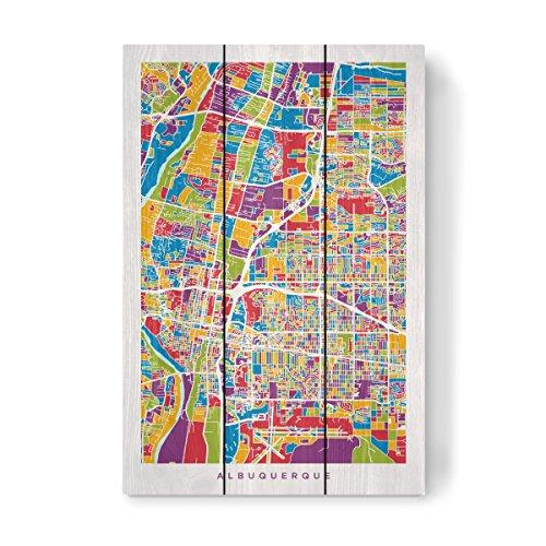 Albuquerque New Mexico Street (artboxONE Holzbild 45x30 cm Kartografie Albuquerque New Mexico City Street Map von Künstler Michael Tompsett)