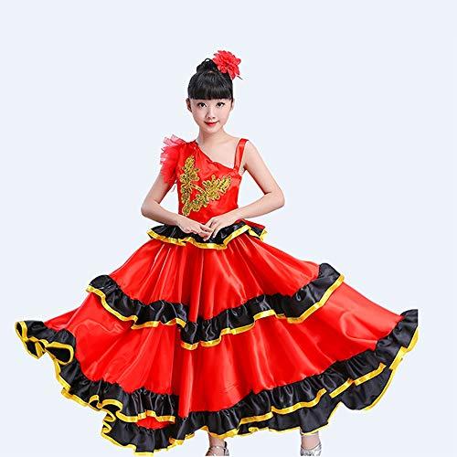Jian E& Dance Wear Spanisches Stierkampf-Kostüm Weibliche Kinder Big Swing Rock Performance Kleidung Pull Costumes (Farbe : Red, größe : 540 Degrees-Height150-160) (Spanische Weibliche Kostüm)
