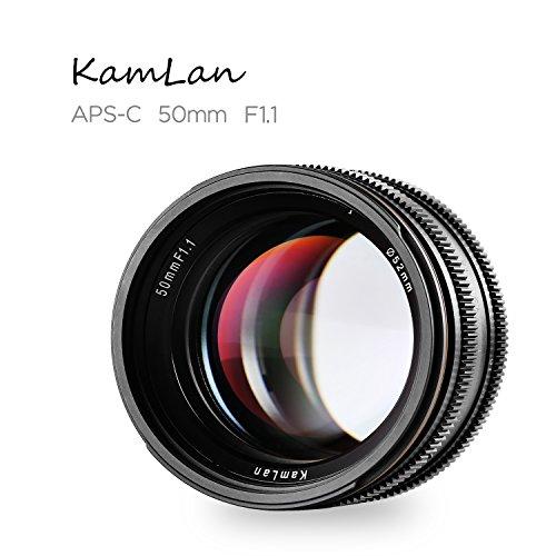 Kamlan 50mm F1.1 APS-C Große Blende Manueller Fixfokus Objektiv, Standard Prime Lens für Canon EOS-M Mount Spiegellose Kamera