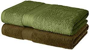 Amazon Brand - Solimo 100% Cotton 2 Piece Bath Towel Set, 500 GSM (Brown and Olive Green)