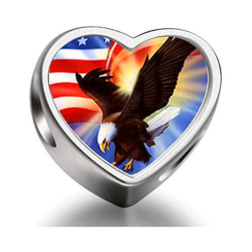 Rarelove Sterling Silver American Eagle With Banner Independence Day Heart Photo Charm (Mens Sterling Silver Eagle)