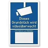 Grundstück wird videoüberwacht Kunststoff Schild nach DIN 33450 (20 x 30cm), Warnhinweis, Hinweisschild Videoüberwachung - Informationen Betreiber, Hinweis Videoüberwachung - Datenschutz BDSG/DSGVO