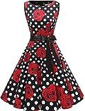 Gardenwed Damen 1950er Vintage Cocktailkleid Rockabilly Retro Schwingen Kleid Faltenrock Black Rose Dot 3XL