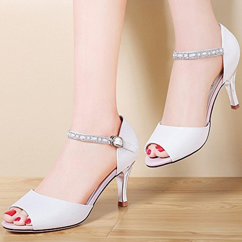 LGK&FA verano de las mujeres sandalias zapatos de tacón fino diamante piel peces boca una sola palabra hebilla... -