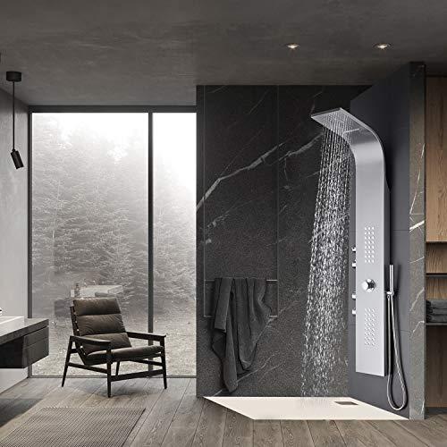 WENHAUS Duschpaneel Edelstahl Mit Thermostat 4 Duschfunktionen, Wellness Luxus Duschsystem Mit Regendusche Und Handbrause, Wasserfall Massage Jets Duschsäule (600012)