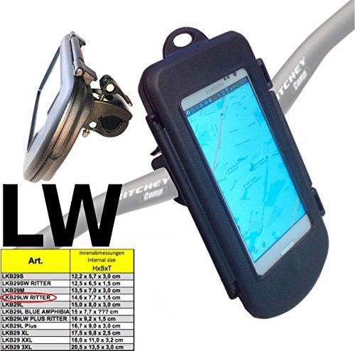 "LKB29LW ""RITTER"" WASSERDICHTE Universal Fahrrad MTB Motorrad Handy Halterung m/o. Kabelführung zB Smartphone bis ca6"" (15,2cm): iPhone 7 6 6S SAMSUNG Galaxy S7 S6 S5 mini A5 A6 J7 A7 Google Pixel 5"""