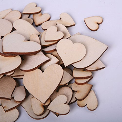 Syga DecuT 60 Pieces Hearts Scrapbook Decorative Wood Craft Items, 3cm (Natural Wood) - Pack of 2