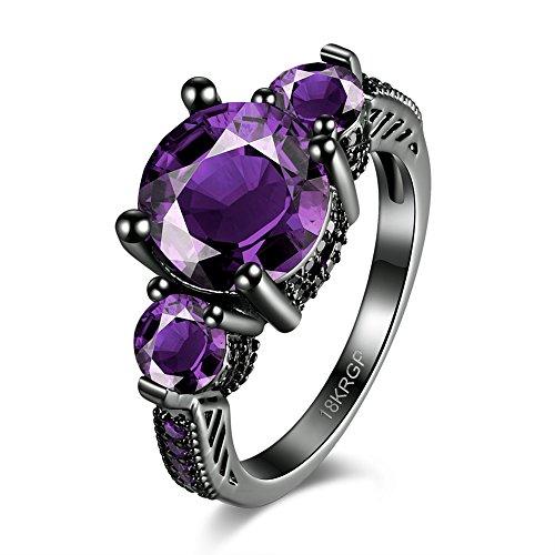 Thumby Copper Black Gun Plated 6.3g Trendy Round Purple Zircon Ring for (Black Kostüm Design Dahlia)